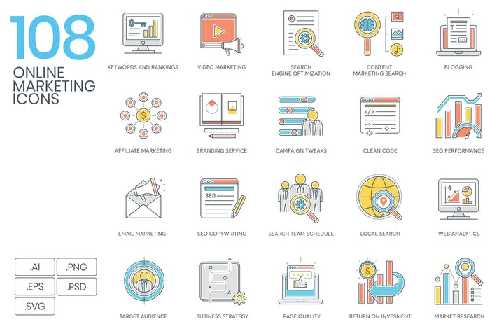 108 Online Marketing Color Line Icons