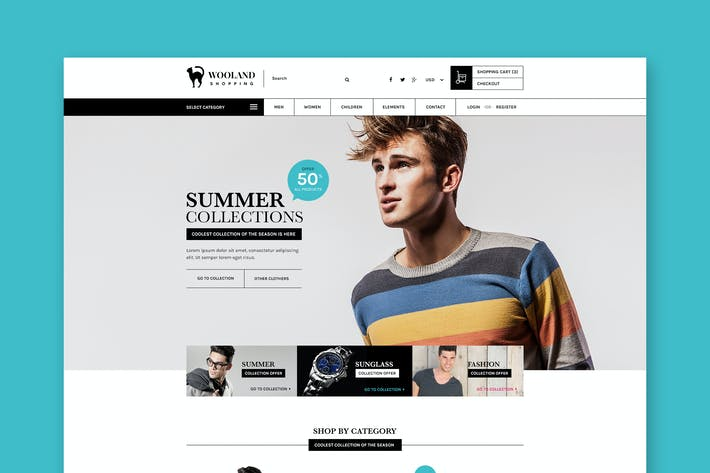 Cover Image For Wooland - eCommerce Shopping PSD-Vorlage