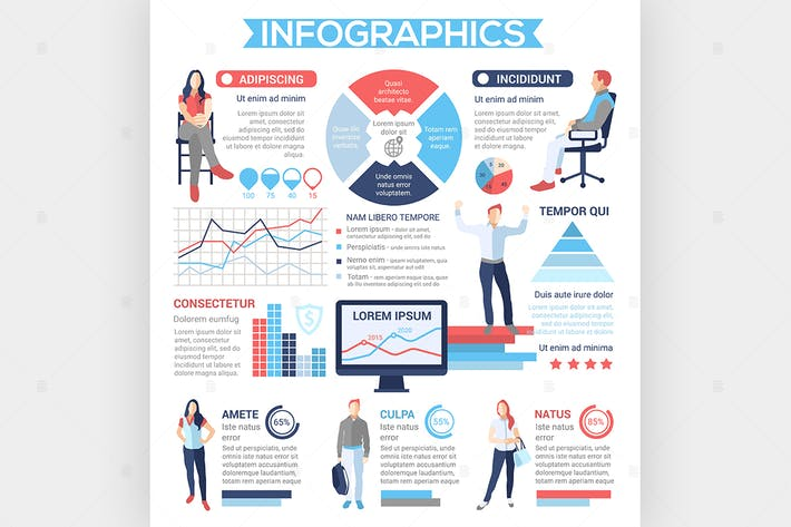 Thumbnail for People Infographies - poster de style design plat