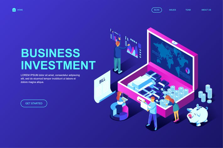 Thumbnail for Business Investmen Isometric Landing Page Template