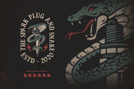 Spark Plug and Snake Hand Drawn Logo