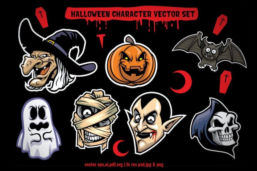 halloween character vector set