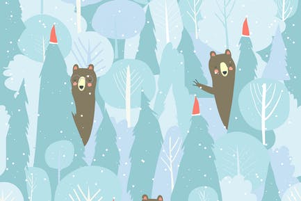 Patrón de bosque de invierno Vector sin costuras. Navidad b