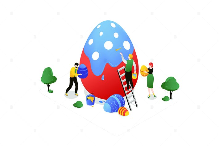Happy Easter - colorful isometric illustration
