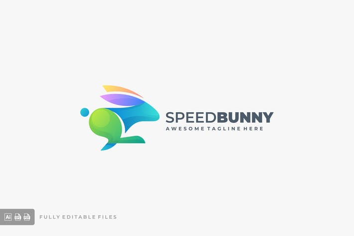 Running Bunny Colorful Gradient Logo Template