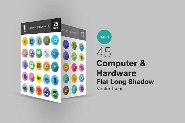 Thumbnail for 45 Computer Flat Long Shadow Icons