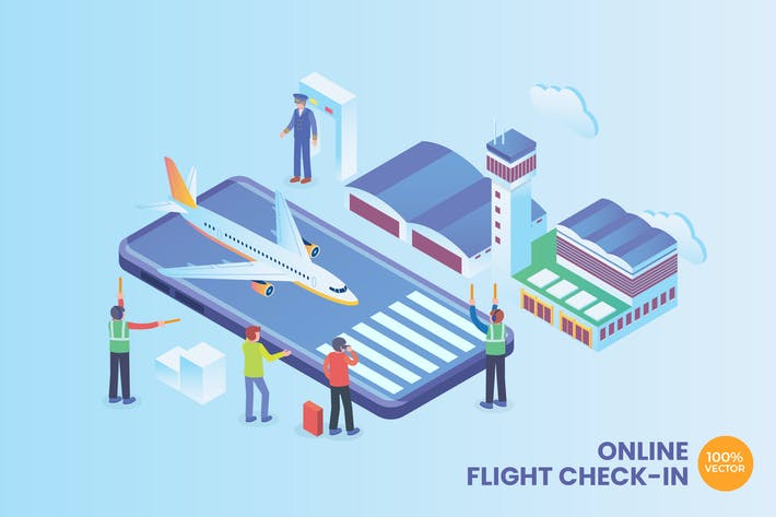 Thumbnail for Isometric Online Flight Check-In Vector Concept