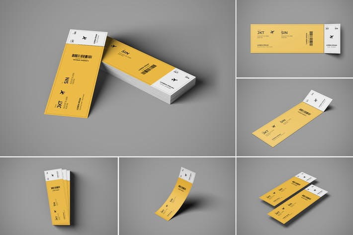 Thumbnail for Ticket Mockup 6 PSD Files