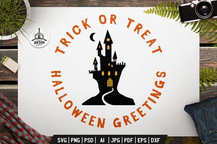 Halloween Greetings Logo Retro Vector Trick Badge