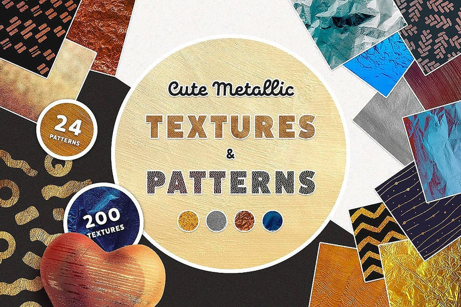 Nette metallische Texturen und Muster