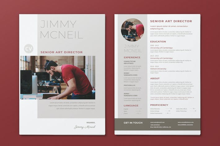 Thumbnail for Clean Minimalist CV Resume AI and PSD Flyer Vol.17