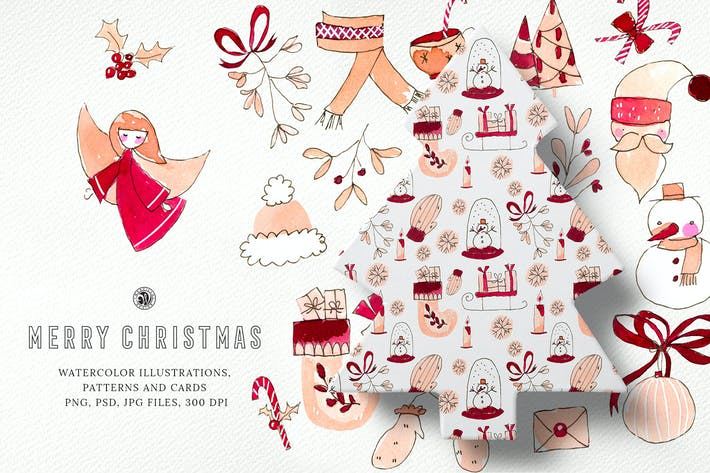 Thumbnail for Merry Christmas Watercolor Set