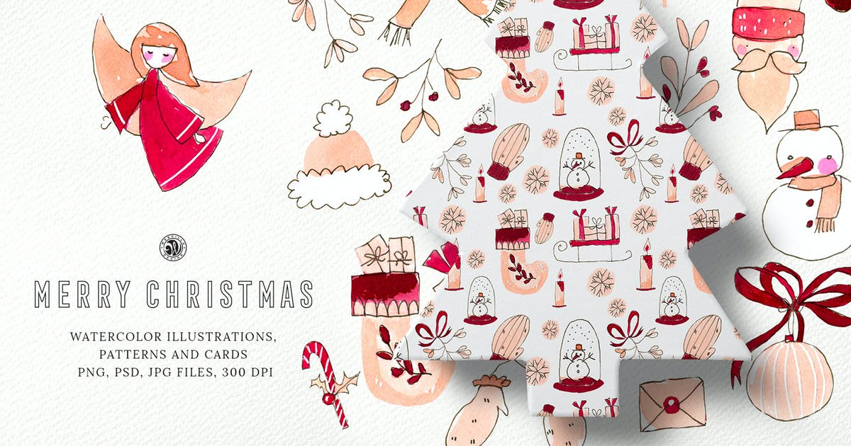 Download Merry Christmas Watercolor Set by Webvilla