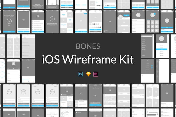 Thumbnail for Bones IOS Wireframe Kit