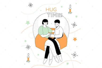 Hug time - modern line design style illustration