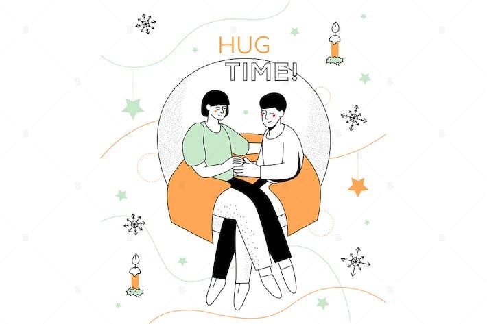 Thumbnail for Hug time - modern line design style illustration