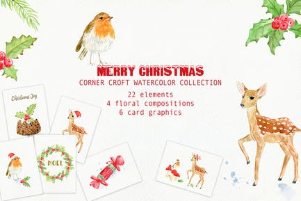 Watercolor Merry Christmas Cards