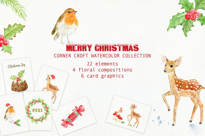 Thumbnail for Watercolor Merry Christmas Cards