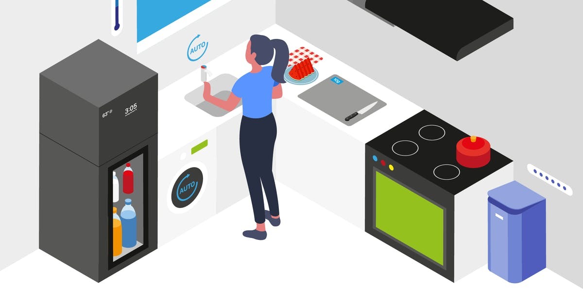 Download Smart Kitchen Isometric Illustration by angelbi88