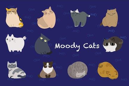 Moody Cats dessinés à la main
