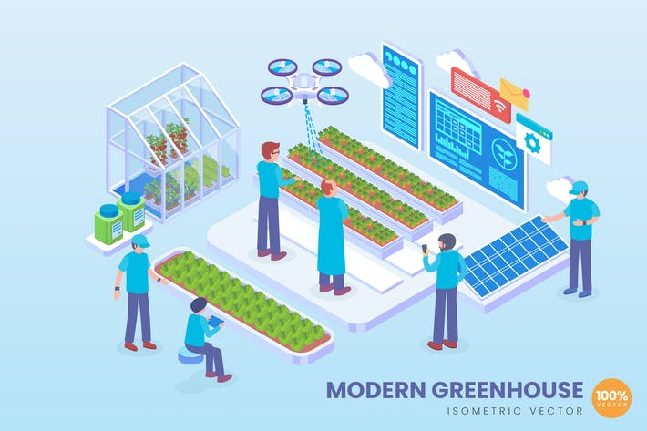 Thumbnail for Isometric Modern Greenhouse Technology Vector