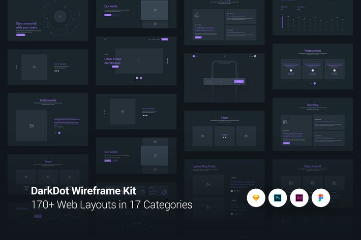 Cover Image For DarkDot - Wireframe UI Kit