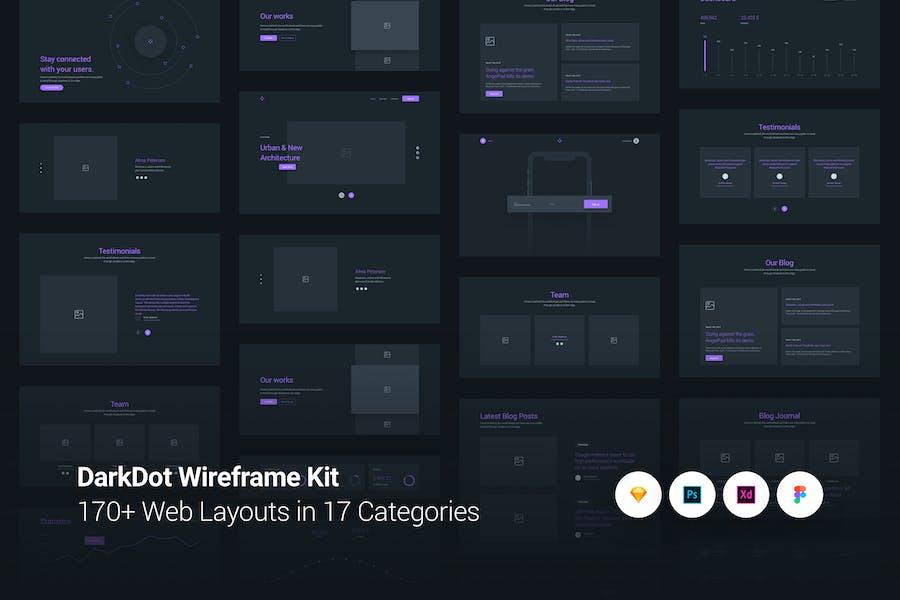 DarkDot - Wireframe UI Kit
