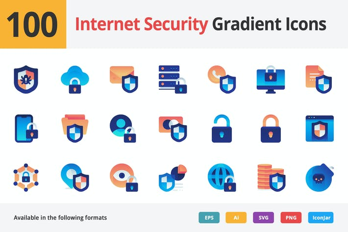 Thumbnail for Internet Security Vector Gradient Icons