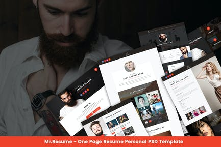 Mr.Resume - One Page Resume Personal PSD Template