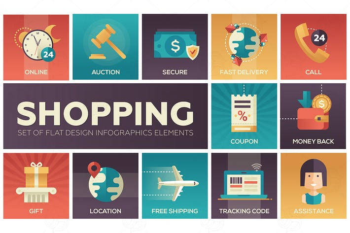Thumbnail for Shopping - vector modern flat design icons set