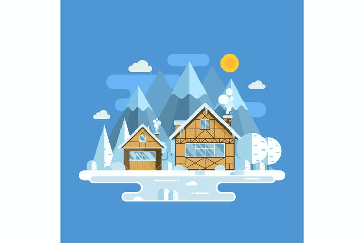 Thumbnail for Winter Houses Snowy Mountain Landscape