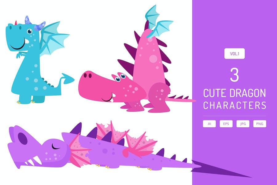 Cute Dragon Characters Vol.1
