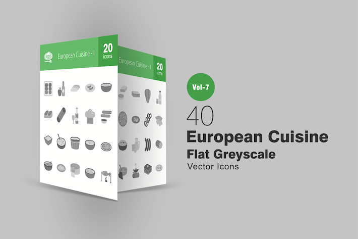 Thumbnail for 40 European Cuisine Flat Greyscale Icons