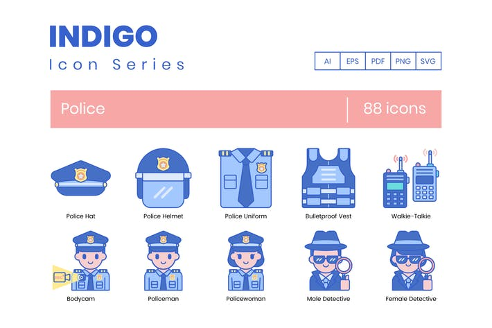 Thumbnail for 88 Police Icons - Indigo Series