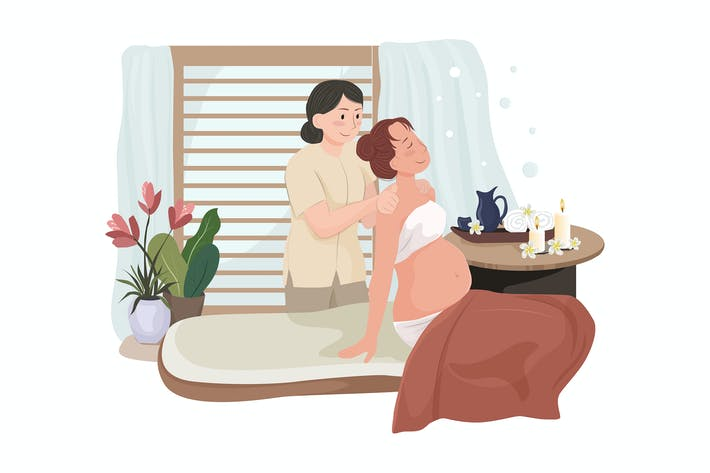 Thumbnail for Young beautiful pregnant woman having massage