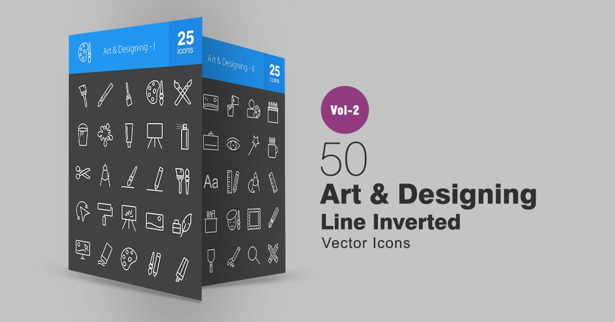 Download 50 Art & Designing Line Inverted Icons by IconBunny