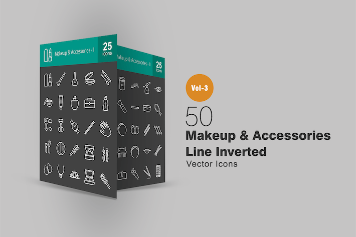50 Makeup & Accessories Line Inverted Icons