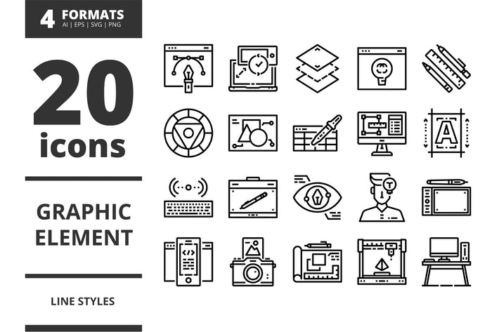 Thumbnail for Grafikelement LinienIcons Packs