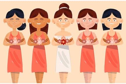 Bridesmaid with Bride Illustration (3)