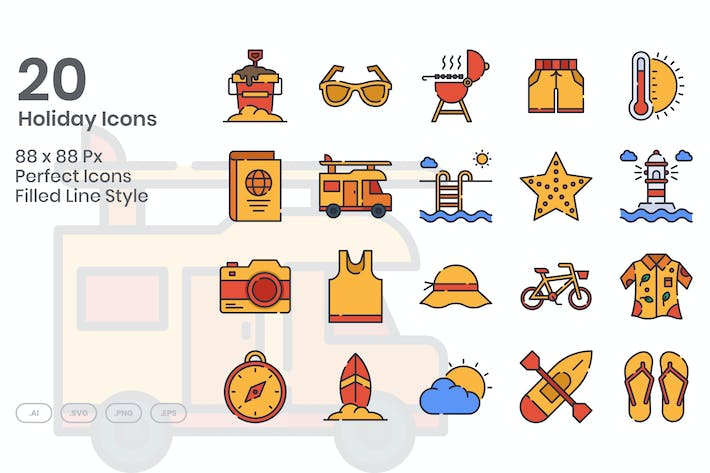 Thumbnail for 20 Holiday Icons Set - Filled Line