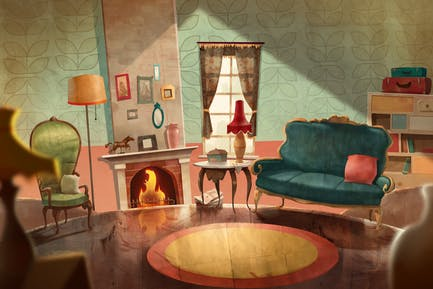 Cozy Living Room — Stay At Home Illustration