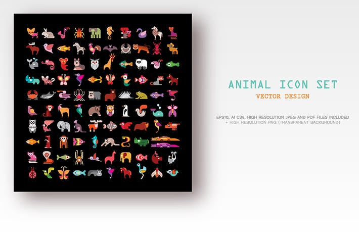 Thumbnail for Animal vector icon set isolated on a black