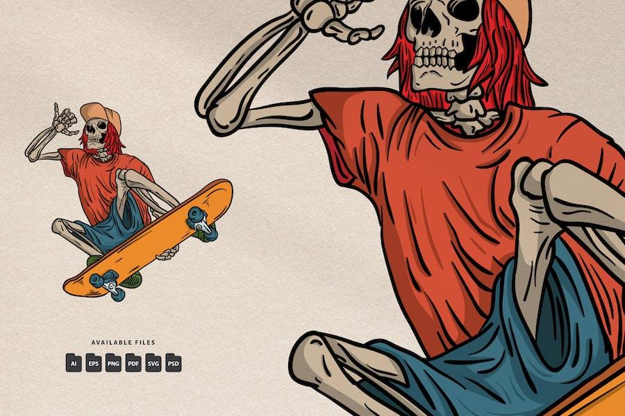 Skull Skateboard - Handdrawn Logo Illustration