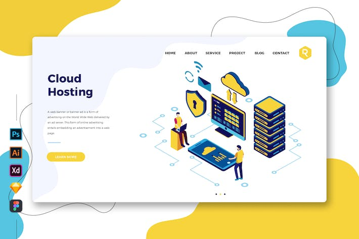 Thumbnail for Cloud Hosting - Web & Mobile Landing Page