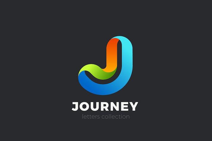 Letter J Logo design 3D Ribbon style