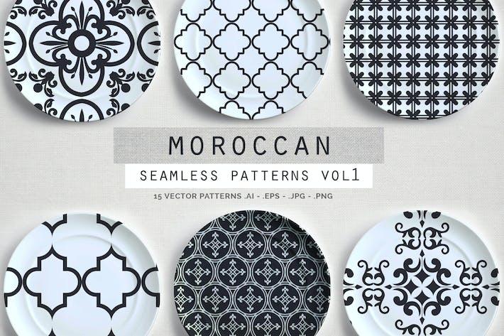 Thumbnail for Patrones Vector sin costuras estilo marroquí vol1