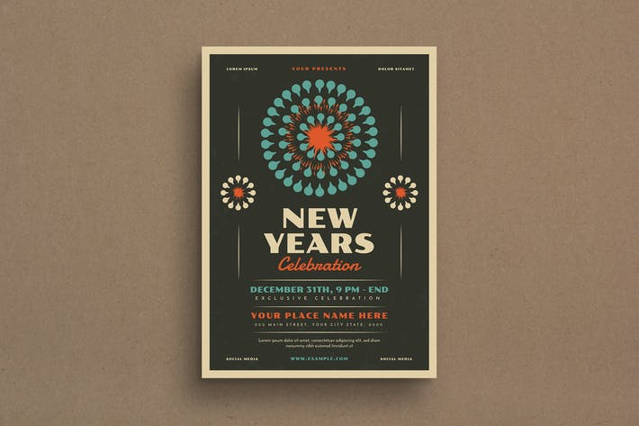 Retro New Year's Event Flyer