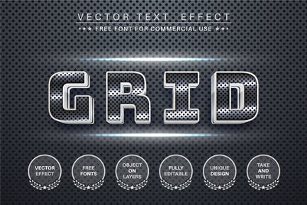 Metal grid - editable text effect,  font style