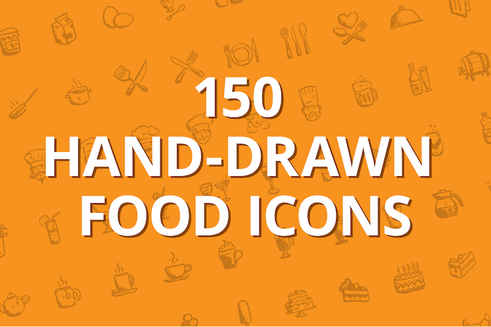 Thumbnail for 150 hand-drawn food icons