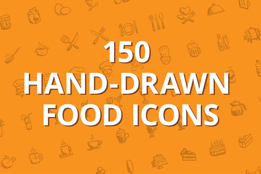 150 hand-drawn food icons